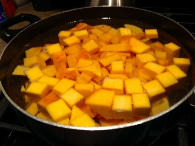 stove-top butternut squash mac & cheese squash boiling