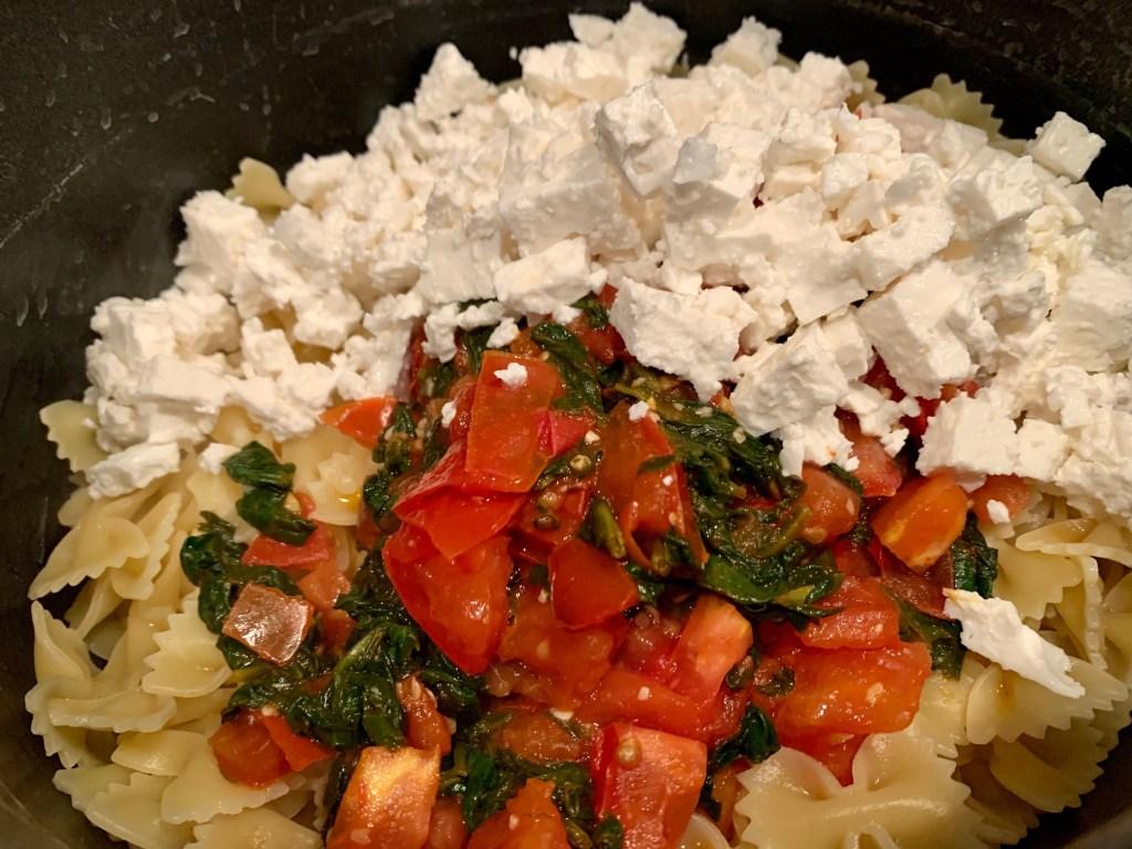 A delicious spinach, tomato, feta pasta recipe