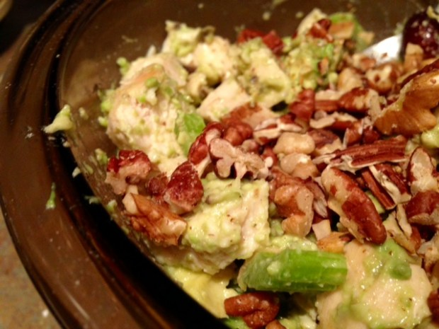whole30 avocado sonoma chicken salad combined closeup