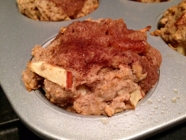 healthy apple cinnamon muffins baked closeup