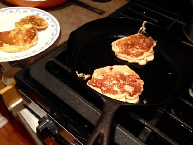 strawberry cornmeal griddle cakes flipped cooking