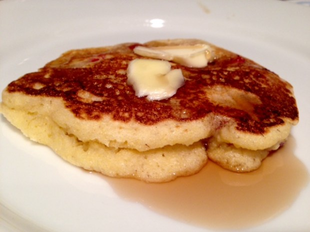 Strawberry Cornmeal Griddle Cakes single