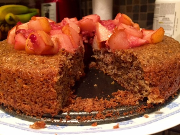 Almond Cake with Fruit Compote sliced