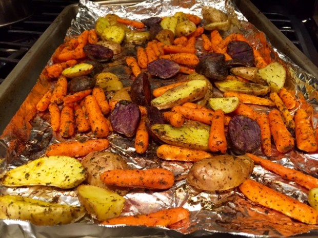 roasted carrots & potatoes with turmeric baking