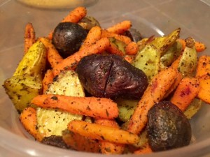 Roasted Carrots & Potatoes with Turmeric done