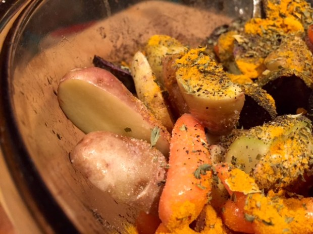 roasted carrots & potatoes with turmeric veggies with spices
