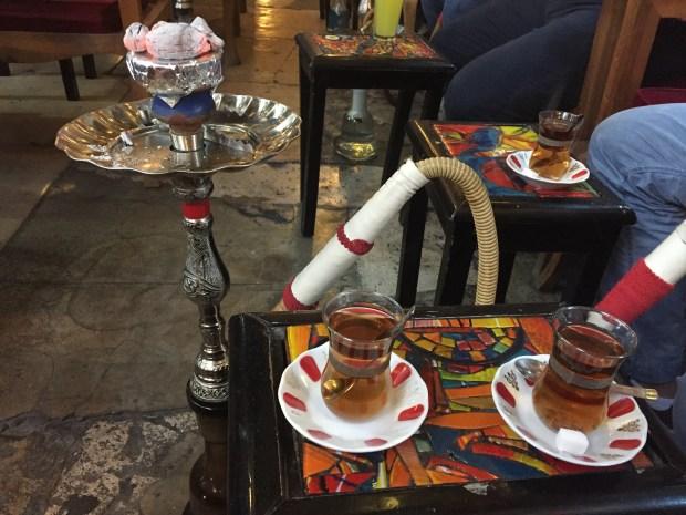 Apple shisha and tea in a pub