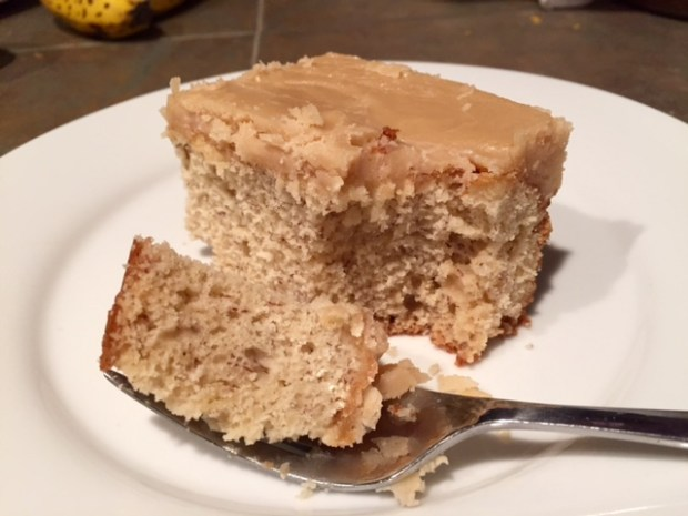 Banana Cake with Caramel Frosting slice