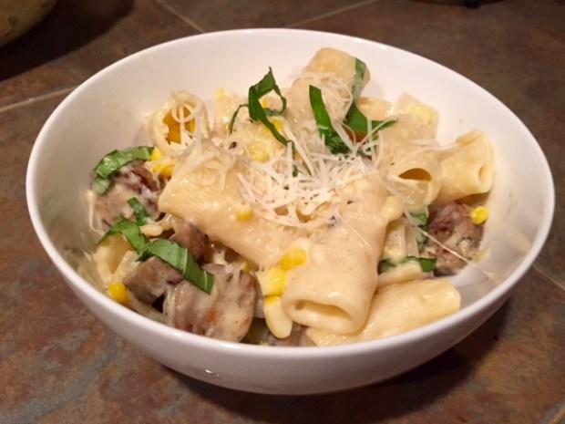 Creamy Sweet Corn & Sausage Pasta bowl