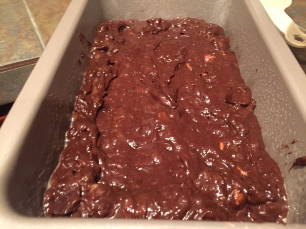 double chocolate peanut butter chip banana bread ready to bake