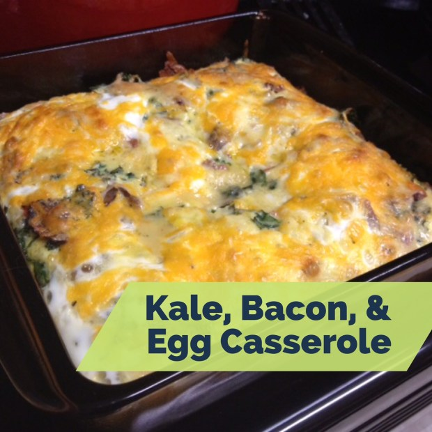Kale, bacon, & egg casserole...easy to feed a crowd, can make most of it ahead of time | FindingTimeForCooking