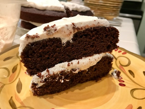 Chocolate Almond Tartine (cake!) swirled with jam & topped with whipped cream | super easy gluten-free dessert, delicious, quick naturally gluten-free cake #glutenfree #gf #chocolatecake