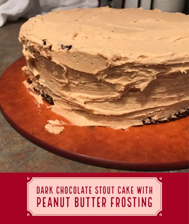 Dark Chocolate Stout Cake with Peanut Butter Frosting...easy, yummy, moist, perfect for a birthday or special occasion | easy cake recipes, birthday cakes, chocolate cake recipes | #cake #recipe #chocolate