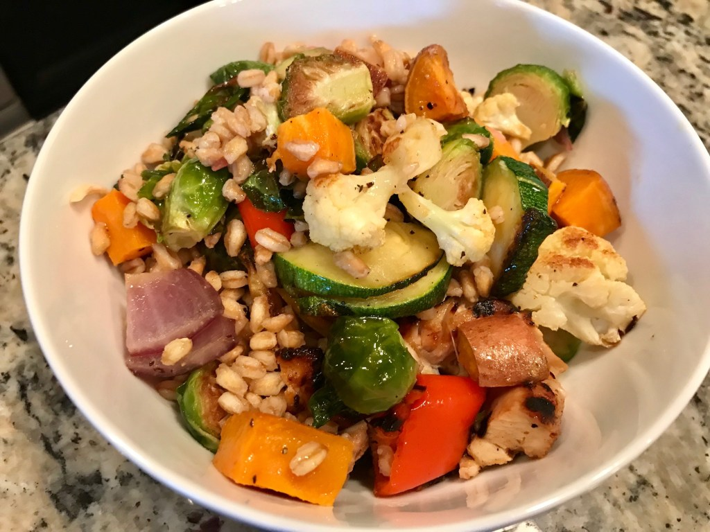 Roasted Vegetable & Grain Salad with Creamy Shallot Dressing...this easy, adaptable, healthy, & delicious vegetarian main dish makes amazing leftovers for work   finding time for cooking