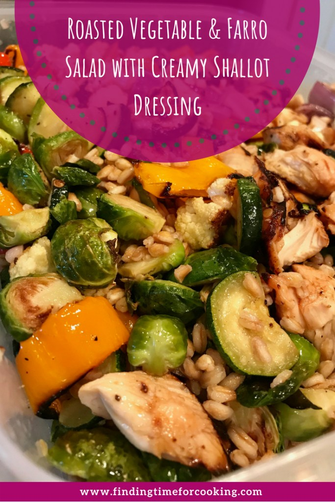 Roasted Vegetable & Grain Salad with Creamy Shallot Dressing...this easy, adaptable, healthy, & delicious vegetarian main dish makes amazing leftovers for work | finding time for cooking #vegetarian #farro #healthy