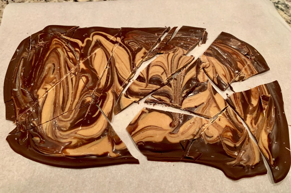 Addictive Dark Chocolate, Peanut Butter, & Tahini Bark | finding time for cooking blog