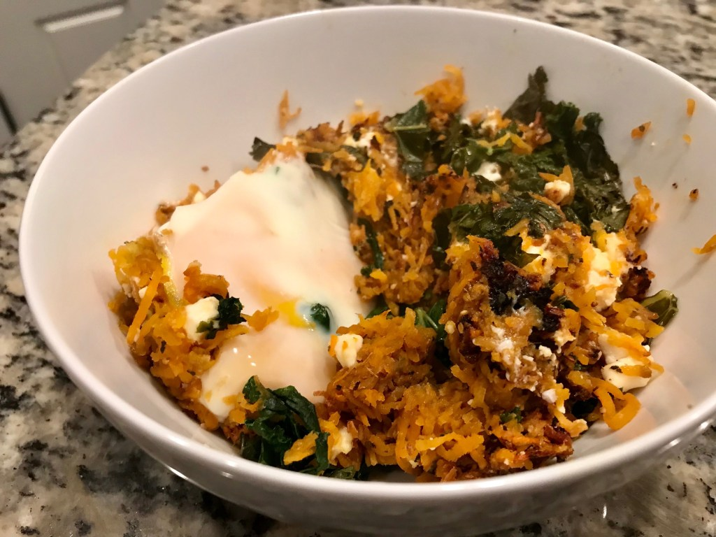 Feta & Sweet Potato Hash | This healthy breakfast recipe is easy & delicious, and a perfect Meatless Monday dinner option, and it makes great leftovers too!