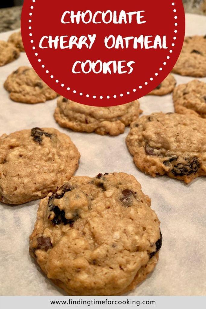 Almond Cherry Chocolate Oatmeal Cookies recipe - Pinterest image