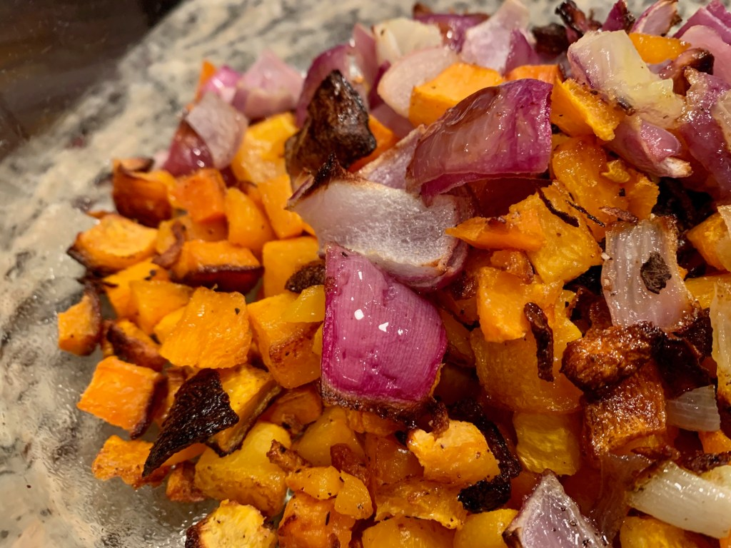 roasted butternut squash and onion - lentil butternut squash salad