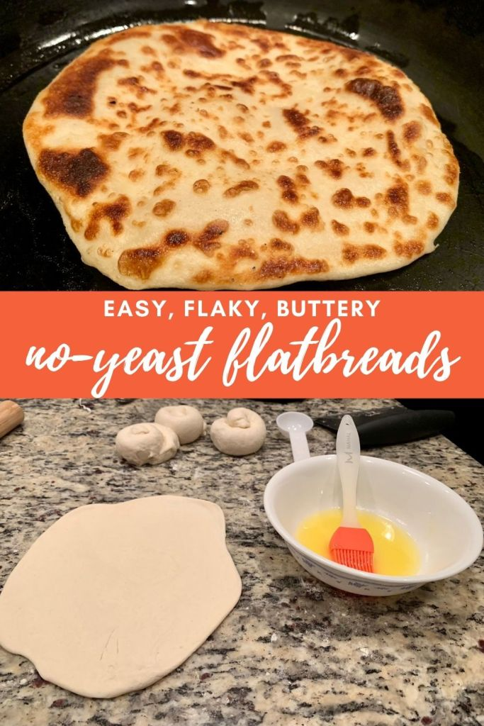 Easy, Flaky, Buttery No-Yeast Flatbreads | This super easy yogurt flatbread recipe is delicious and can be topped or filled with all sorts of meats and more. They're flaky and buttery, and only take a couple minutes to cook once they're ready. Simple flatbread recipe. #flatbread #noyeast #easybread