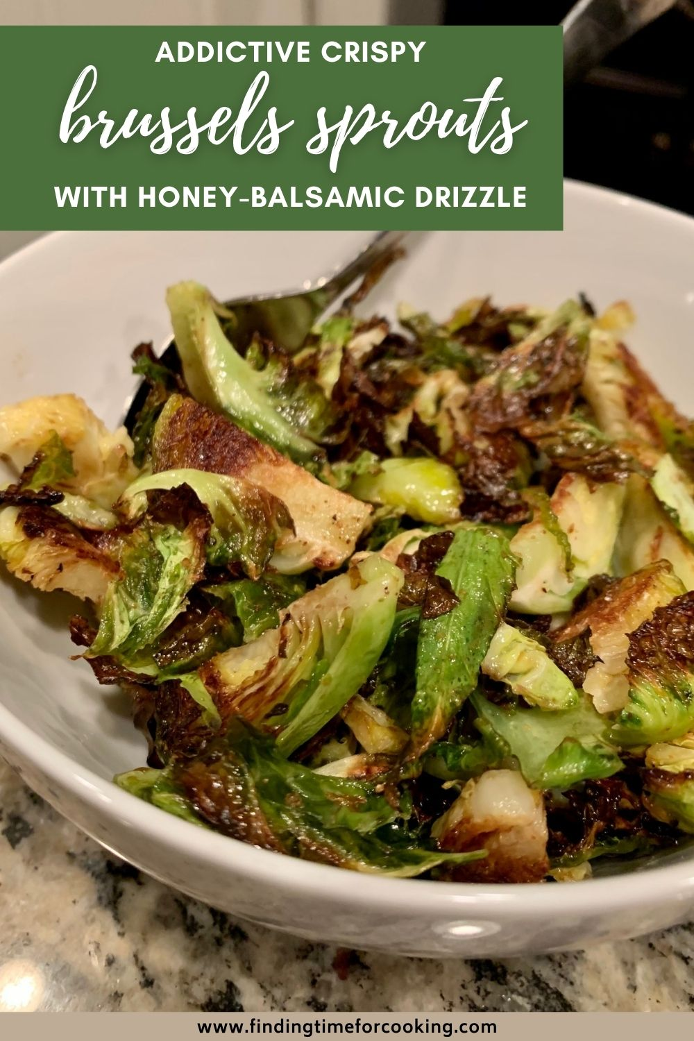 Crispy Roasted Brussels Sprouts with Balsamic-Honey Drizzle | These roasted brussels sprouts are totally addictive and super easy, perfect for any weeknight but also a fancy holiday dinner. You need these honey balsamic brussels sprouts in your life! Delicious flavor combo, ingredients you have in your pantry, healthy side dish recipe or vegetable recipe. #brusselssprouts #balsamic #honey #sidedish