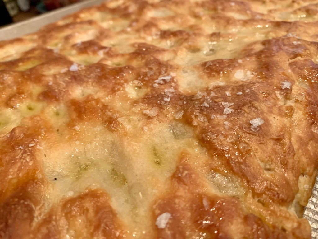 It's worth it to use really good olive oil in this Ligurian focaccia because it really imparts flavor