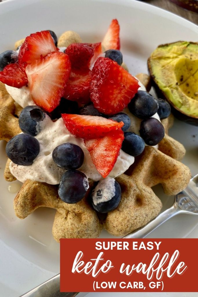Easy Low-Carb Keto Waffle Recipe (GF) with Almond Butter | This super easy low-carb waffle recipe is perfect for people on keto diet, or just trying to eat lower carb or gluten-free. Takes 5 minutes, ingredients you should have already. Perfect keto breakfast option or healthy breakfast recipe. #keto #waffle #breakfast #lowcarb #gf