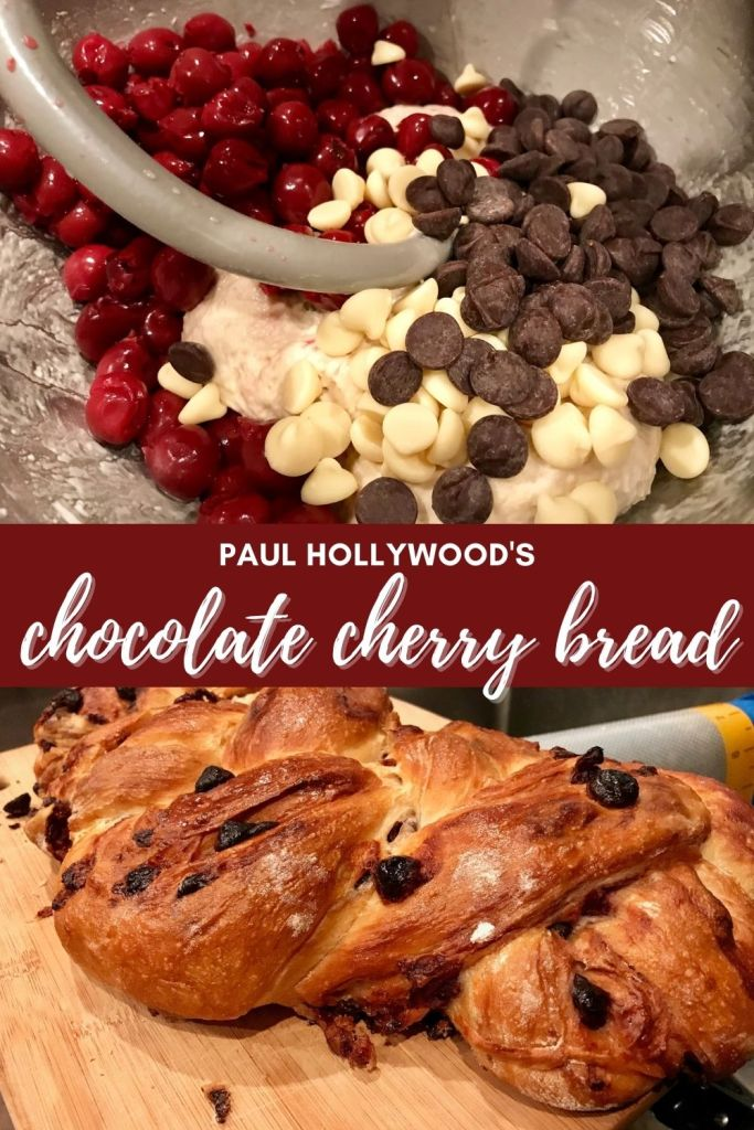 Paul Hollywood's Chocolate Cherry Bread | This indulgent loaf of bread from Paul Hollywood is full of sweet dark cherries and white and dark chocolate, but not too sweet or rich. From GBBO Masterclass, this delicious sweet braided bread is perfect for any occasion. I use Morello cherries. #chocolate #cherries #bread #paulhollywood #gbbo #breadrecipes