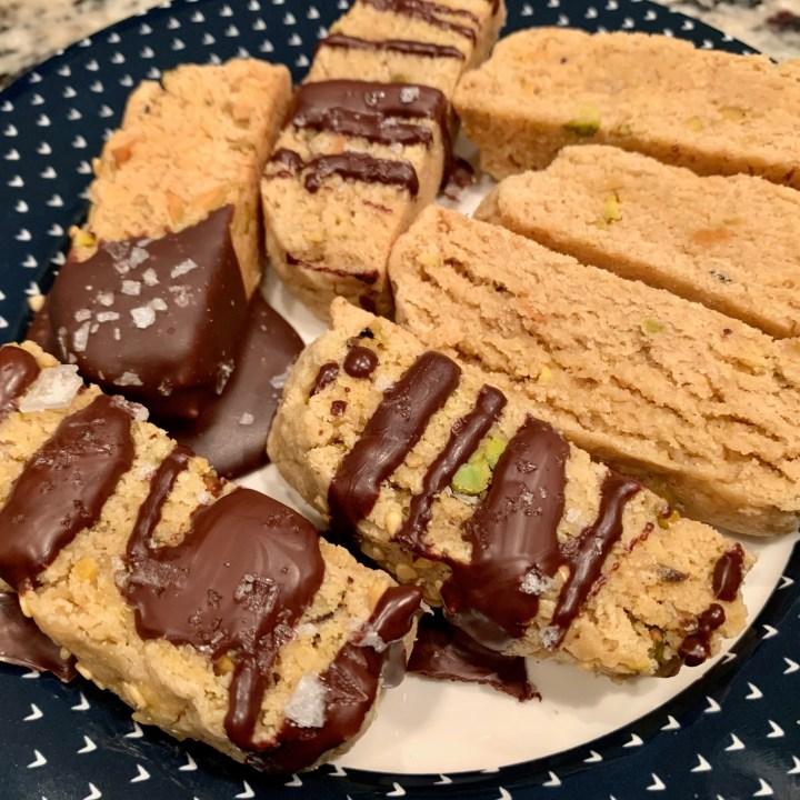 Tahini Pistachio Biscotti with Dark Chocolate & Sea Salt