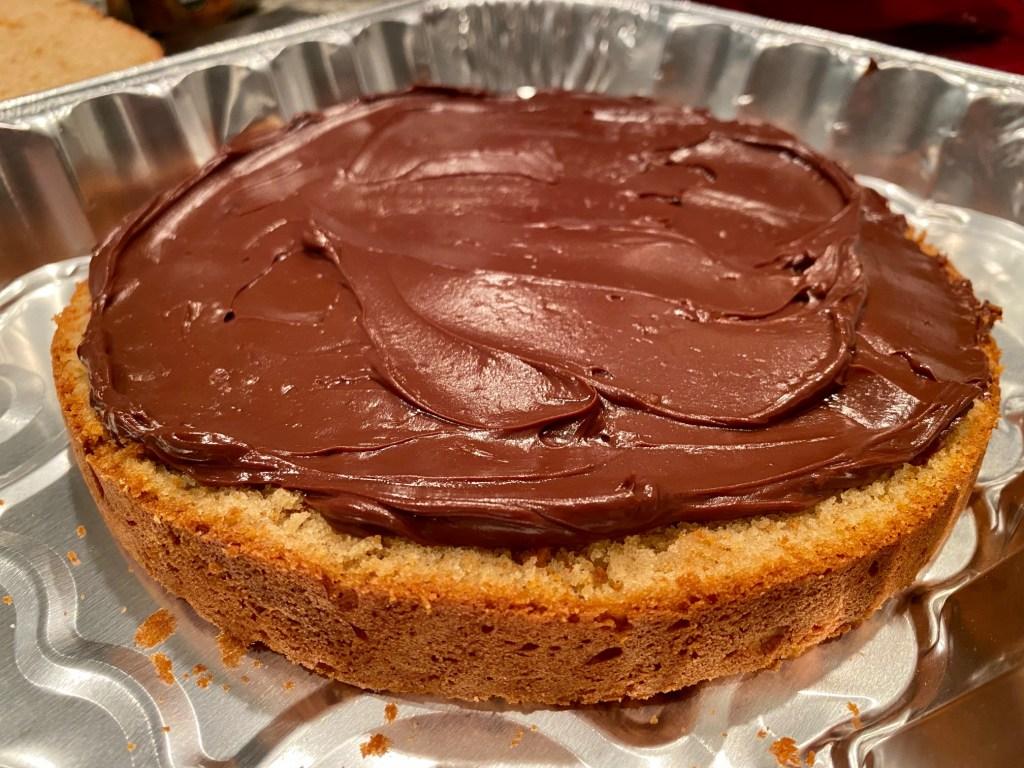 The dark chocolate ganache filling makes this peanut butter cake recipe amazing