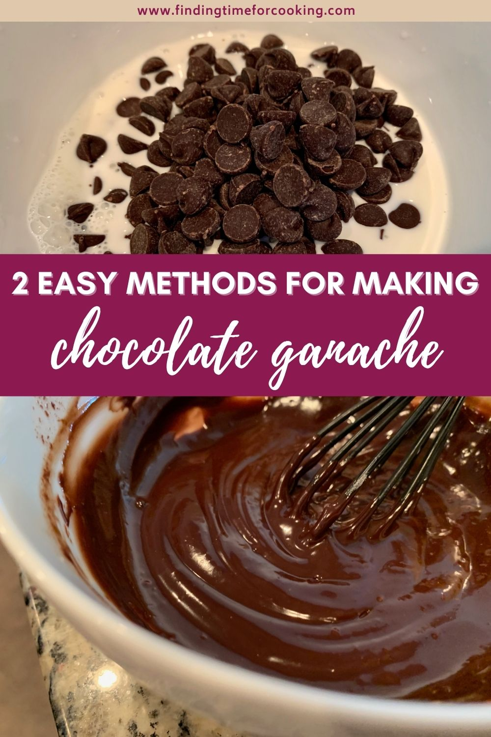 How to Make Ganache...2 easy methods for a delicious pouring dark chocolate ganache (for cakes)   It sounds fancy but is super easy, you can make chocolate ganache with just a couple ingredients and a few minutes. I show you two different easy methods. #ganache #darkchocolate #bakingtips