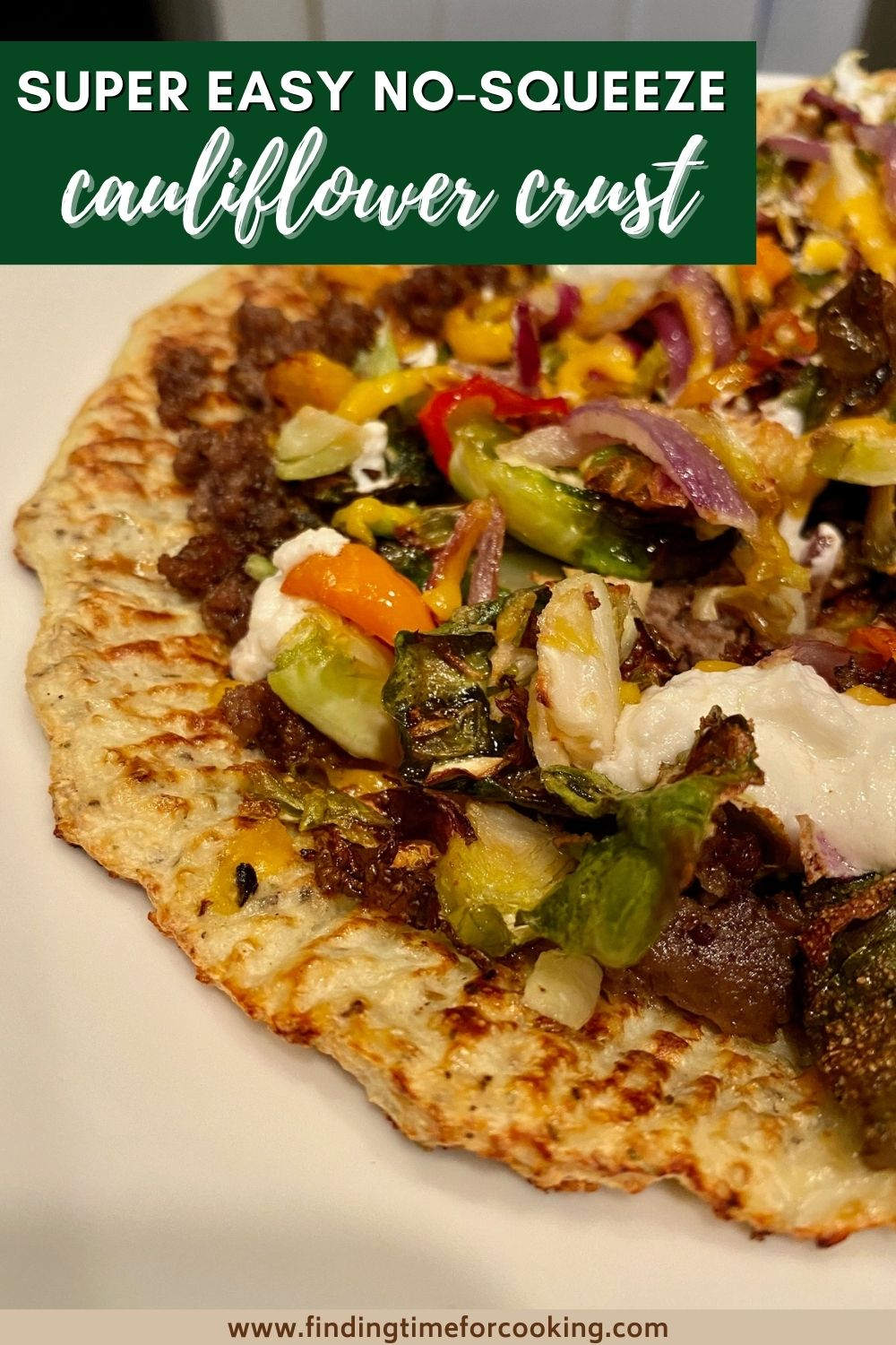 Super Easy No-Squeeze Cauliflower Pizza Crust | This amazing easy cauliflower pizza crust doesn't require any pre-cooking the cauliflower or squeezing all the moisture out...a (not weird) secret ingredient makes this super fast and easy. Great keto, low-carb, or grain-free dinner option. #cauliflower #cauliflowercrust #keto #lowcarb #glutenfree #gf