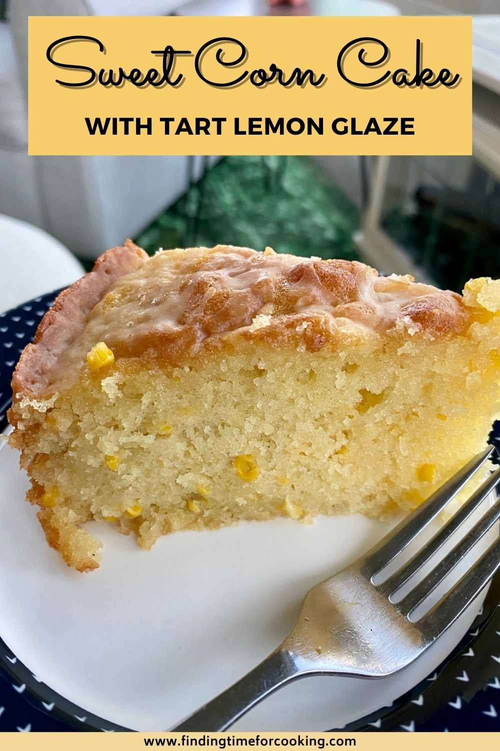 Sweet Corn Cake with Tart Lemon Glaze | This olive oil cake with fresh sweet corn is a delicious, moist, easy treat, the perfect way to use up all that fresh corn during late summer. Subtle & lightly sweet, a great afternoon pick-me-up. #sweetcorn #freshcorn #corn #cake #snackcake