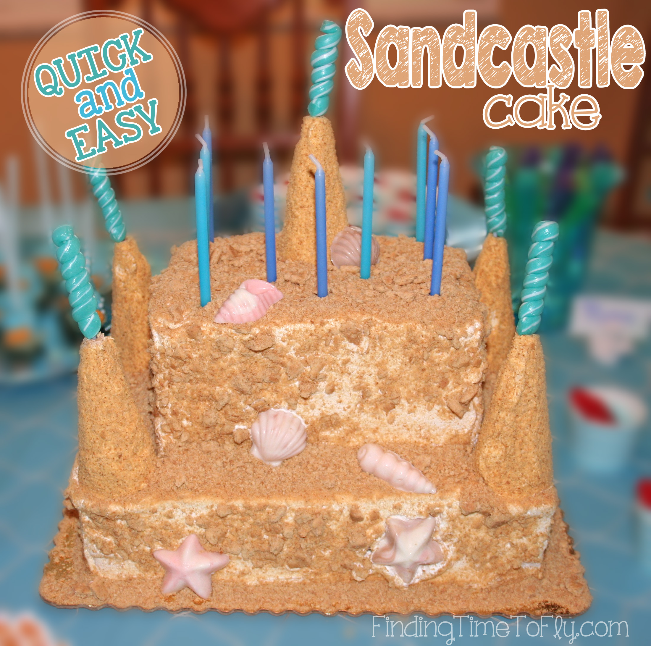 What a simple way to create a stunning Sandcastle Cake! I love this for a Mermaid or Under the Sea birthday party!