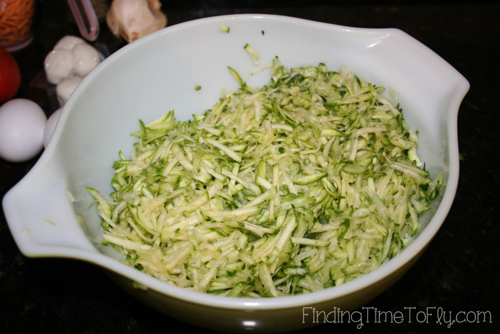 Zucchini Crust Low Carb Pizza- shredded zucchini