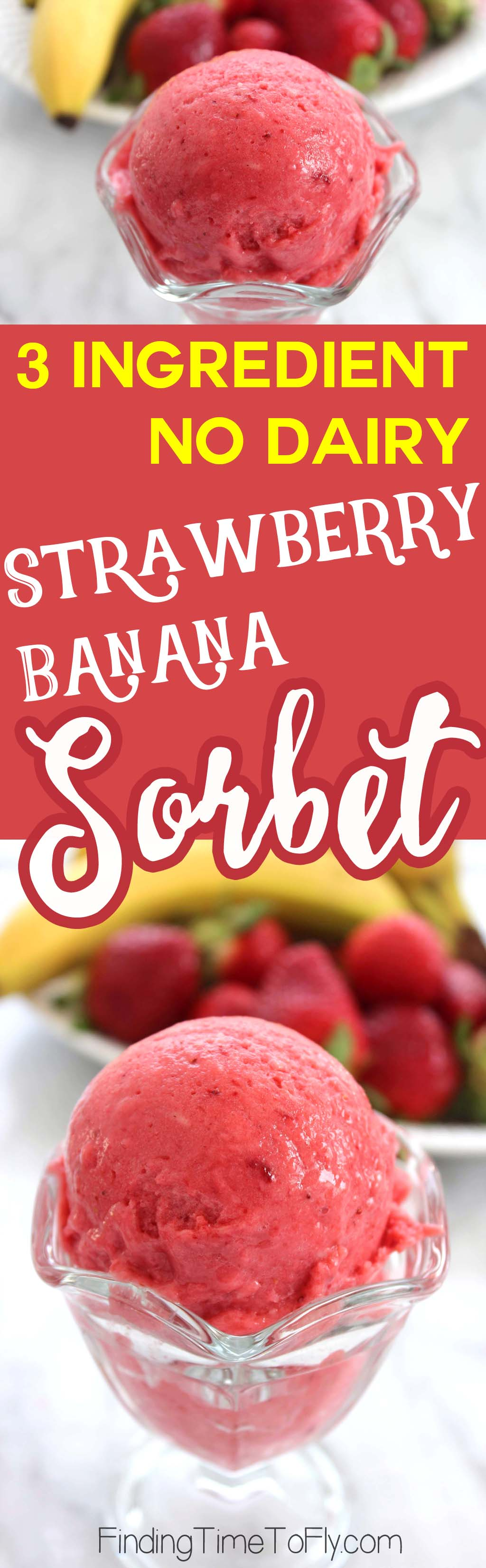 You are just 3 ingredients and one blender away from this delicious No Dairy Strawberry Banana Sorbet!