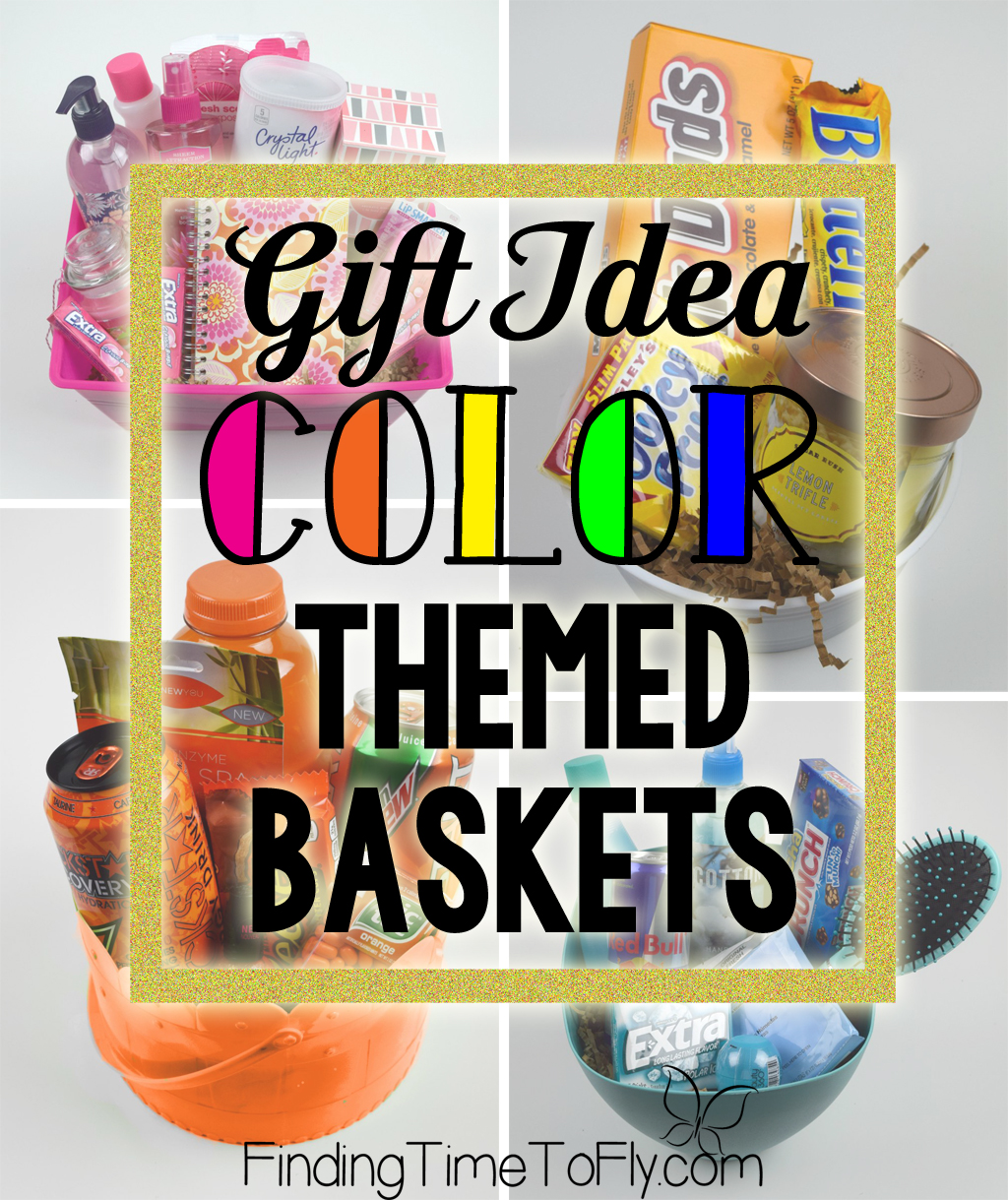 Diy gift baskets color themed gift baskets gift basket ideas for anyone there are some great inexpensive ideas in these baskets negle Images
