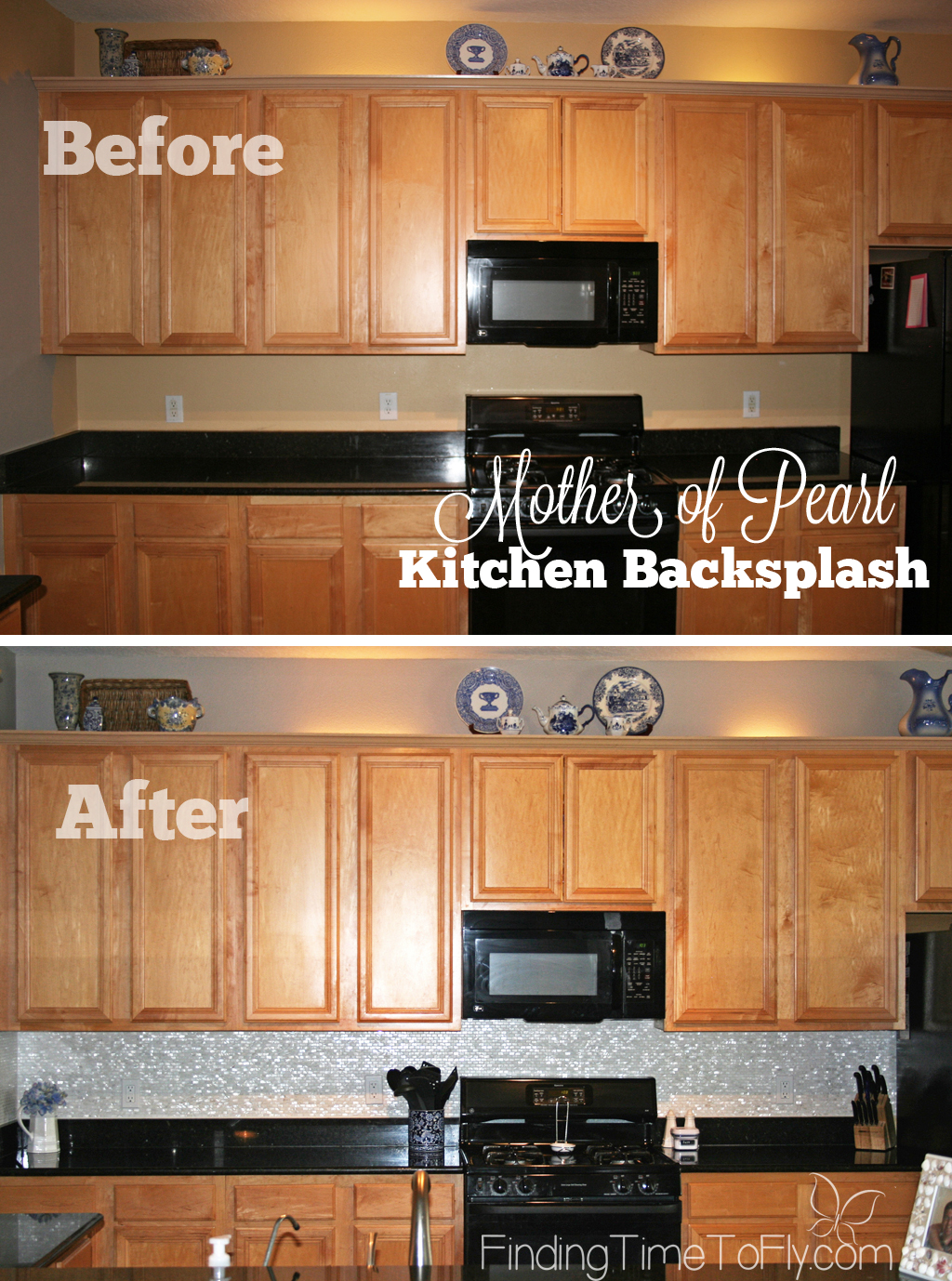 Before and after pics of mother of pearl mosaic tile backsplash and black granite countertops