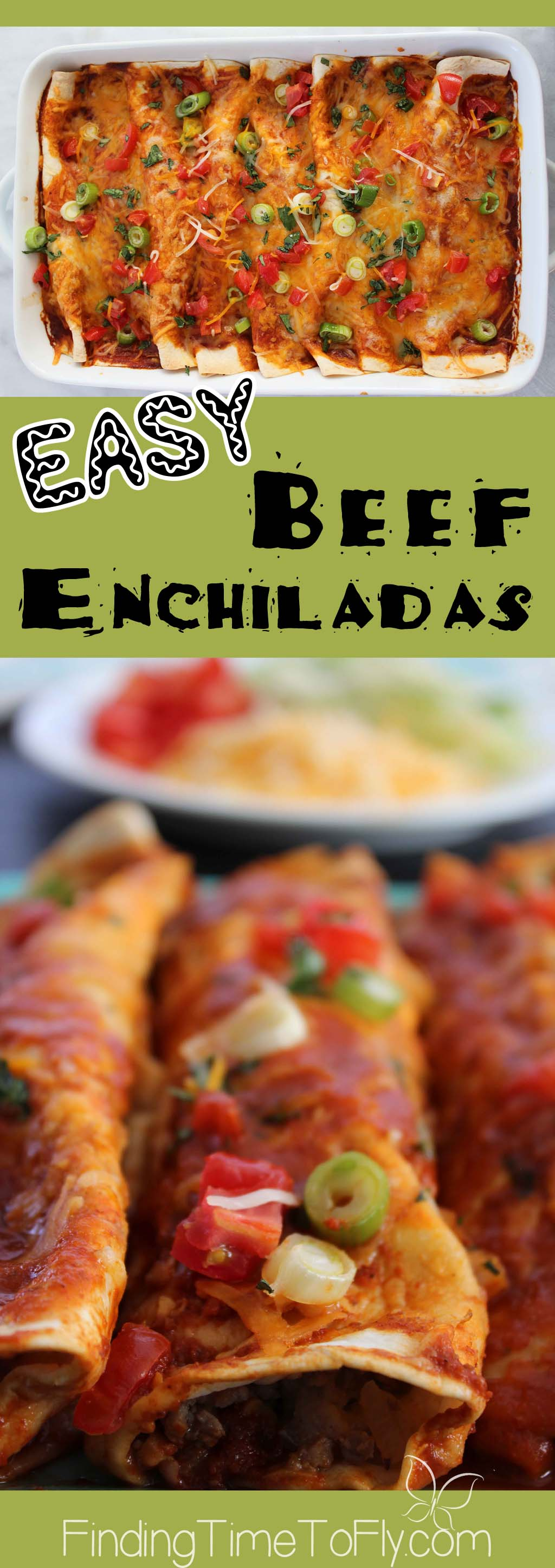 A simple and tasty week night dinner. Easy Beef Enchiladas are on the table in just 35 minutes. Can be made ahead and frozen, too!