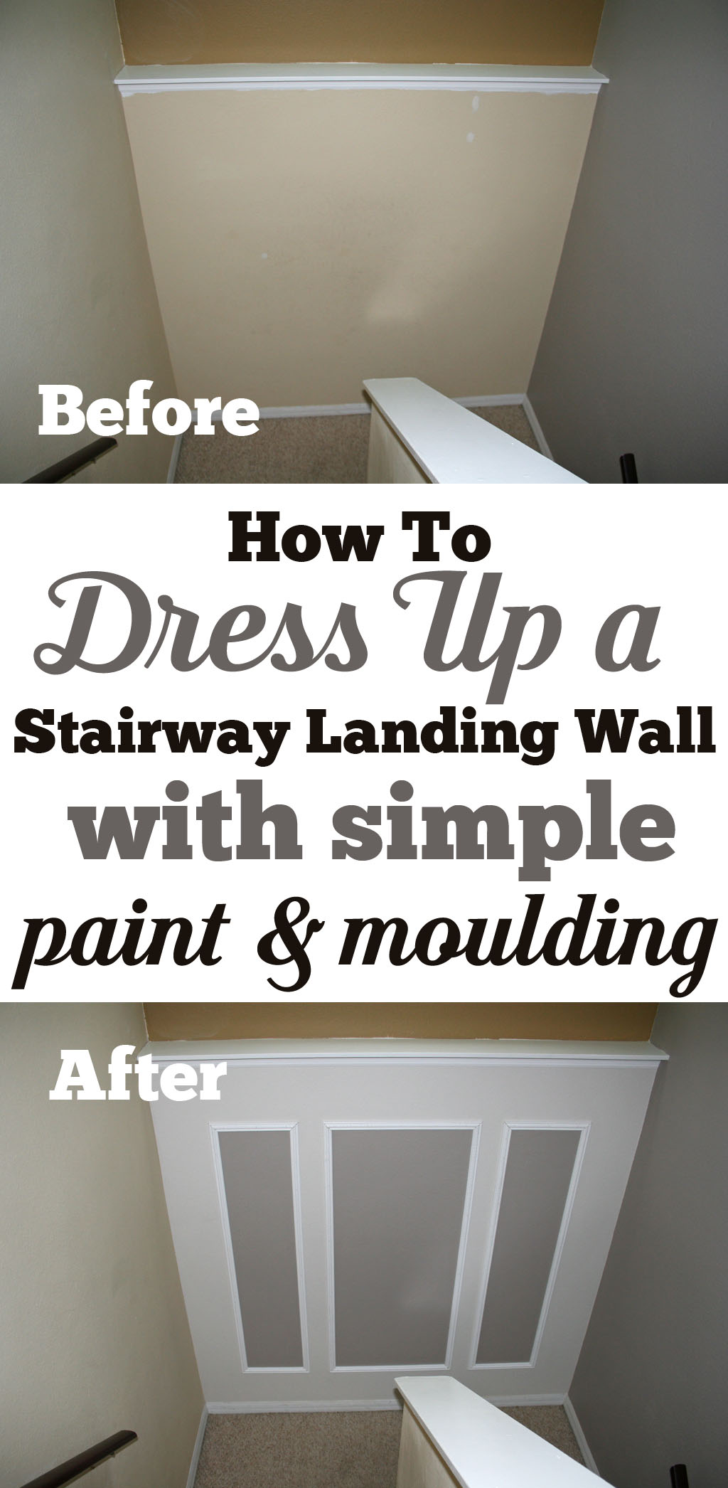 This 5 to 6 hour project using only paint and moulding will completely transform your stairway landing wall or any transition wall in your home.