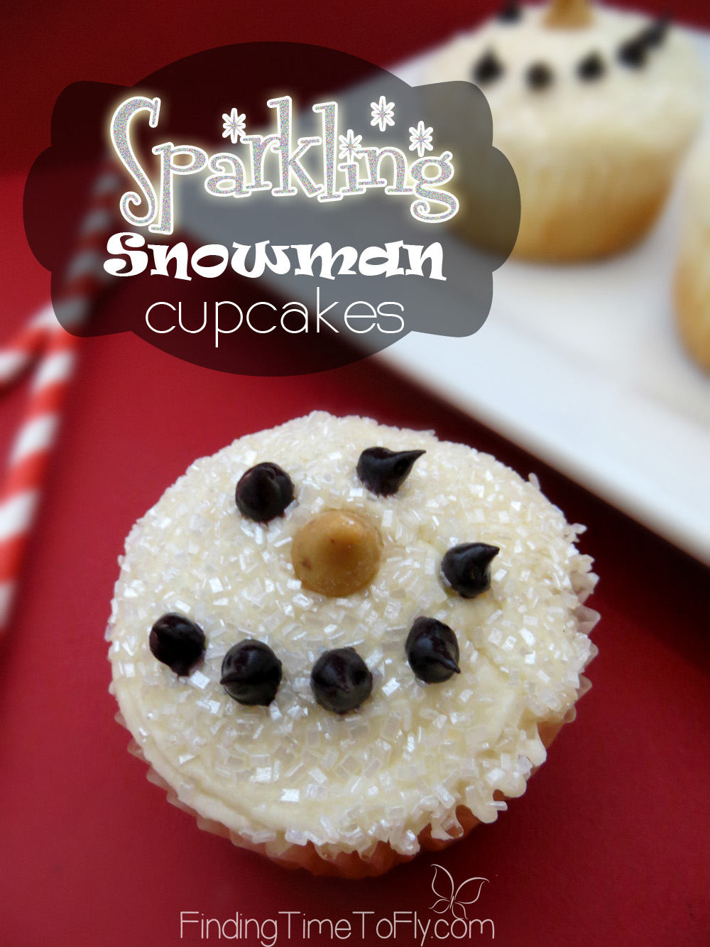 Cute, easy and they ARE actually SPARKLING Snowman Cupcakes. Love these!