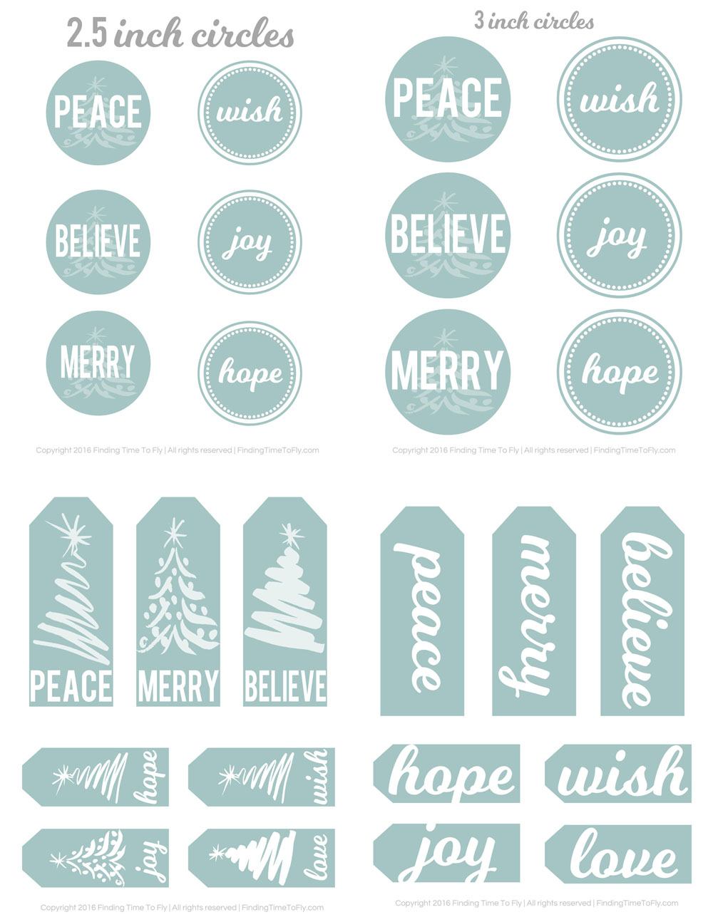 Free Printable Christmas Gift Tags in Blue - Finding Time To Fly