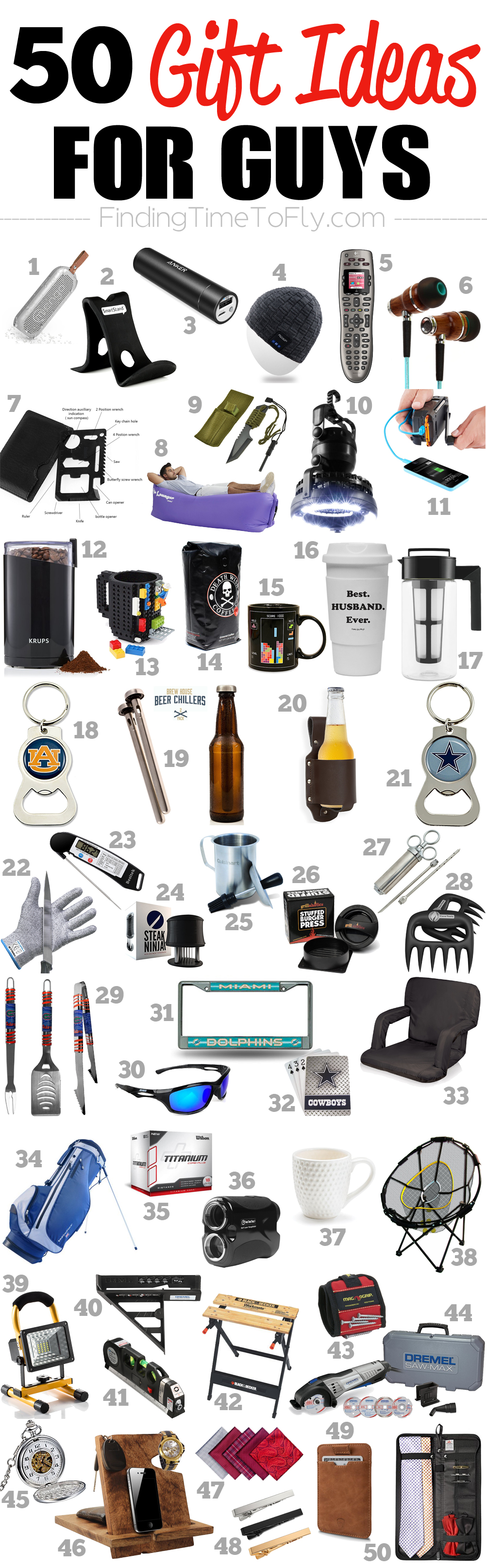 Saving this list of 50 Gifts for Guys. A great list of gift ideas for men to shop for birthdays, Valentine's Day, Father's Day, graduation, or Christmas gifts.