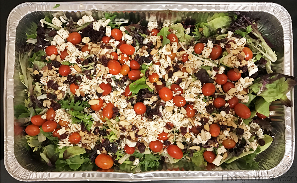 No chopping, peeling or slicing! This dump recipe is super easy and really delicious. Spring Mix and Goat Cheese Salad would be great for potluck meals or to feed a large crowd. Keeping this one!