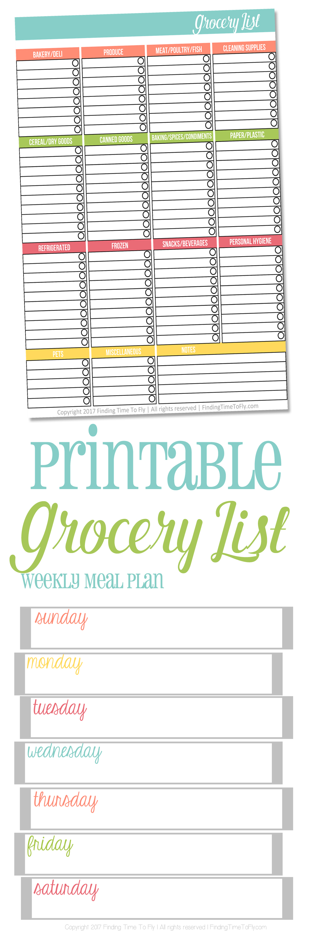 Printable Grocery List - Finding Time To Fly