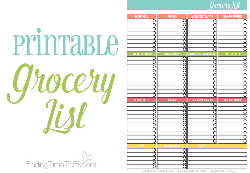 graphic about Printable Grocery List by Category identified as Printable Grocery Listing - Getting Year Toward Fly