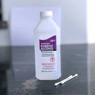70% Rubbing Alcohol with Cotton Swabs to use for Mater Hou's method for reducing coronavirus symptoms
