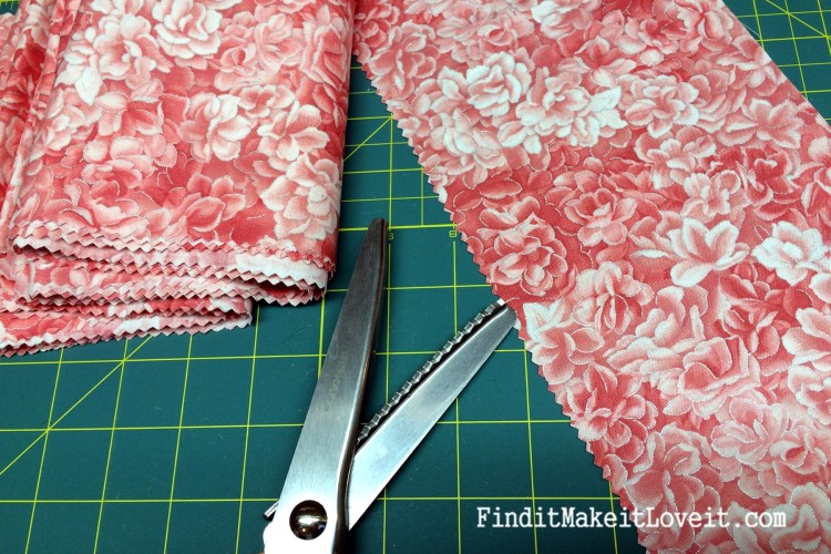 Coral Rose Fabric and pinking shears