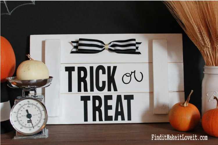 DIY Halloween Sign using scrap wood and address stickers