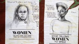 stop telling women to smile - New York artist Tatayana Fazlalizadeh uses posters to combat unwanted cat calls and attention from men in her neighborhood.